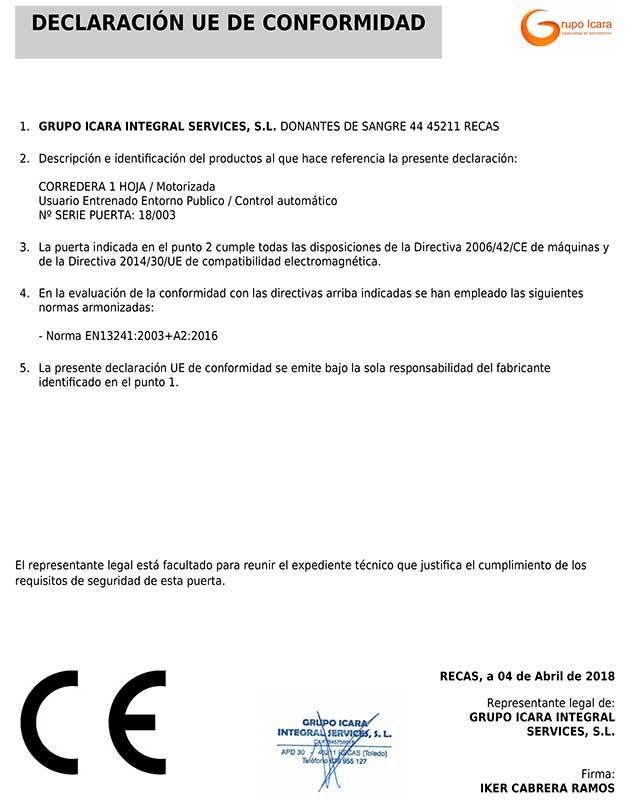 Ejemplo declaración conformidad CE