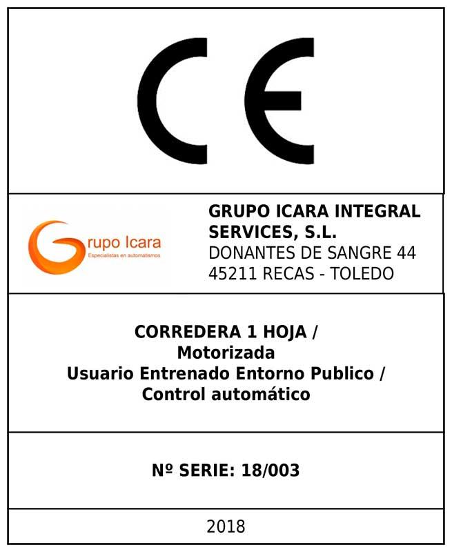 Etiqueta de Marcado CE GRUPO ICARA